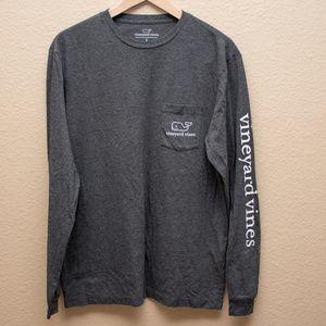 Vineyard Vines Gray Long Sleeve Pocket T-Shirt